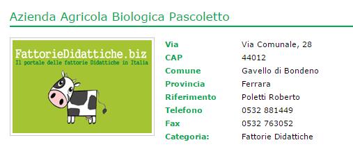 Fattoria didattica Azienda Agricola Biologica Pascoletto a Gavello di Bondeno Ferrara Fattorie Didattiche.biz